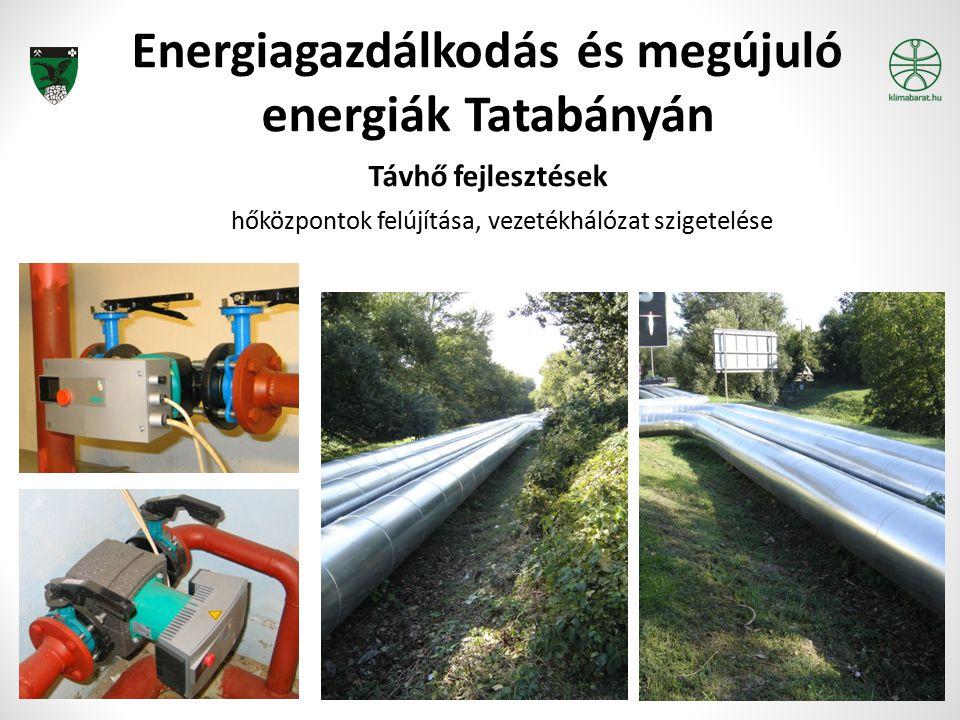 Energiagazdálkodás és megújuló energiák Tatabányán Távhő fejlesztések hőközpontok felújítása, vezetékhálózat szigetelése