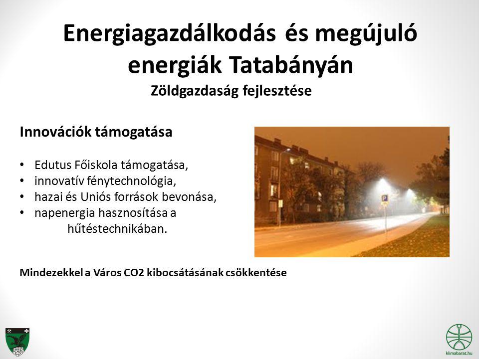 Innovációk támogatása Edutus Főiskola támogatása, innovatív fénytechnológia, hazai és Uniós források bevonása, napenergia hasznosítása a hűtéstechniká