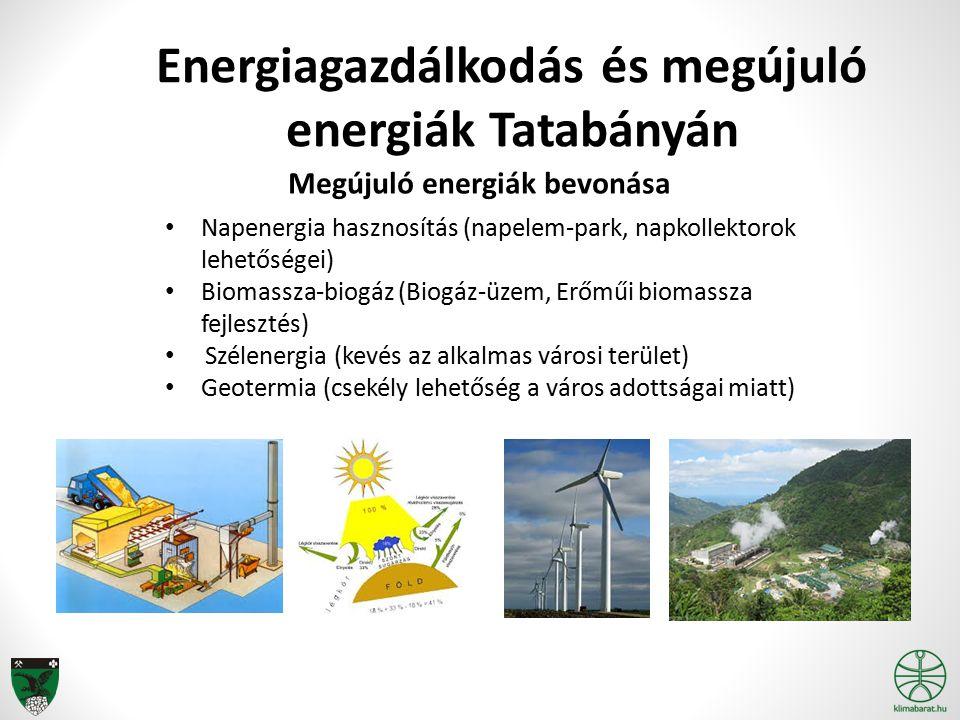 Napenergia hasznosítás (napelem-park, napkollektorok lehetőségei) Biomassza-biogáz (Biogáz-üzem, Erőműi biomassza fejlesztés) Szélenergia (kevés az alkalmas városi terület) Geotermia (csekély lehetőség a város adottságai miatt) Energiagazdálkodás és megújuló energiák Tatabányán Megújuló energiák bevonása