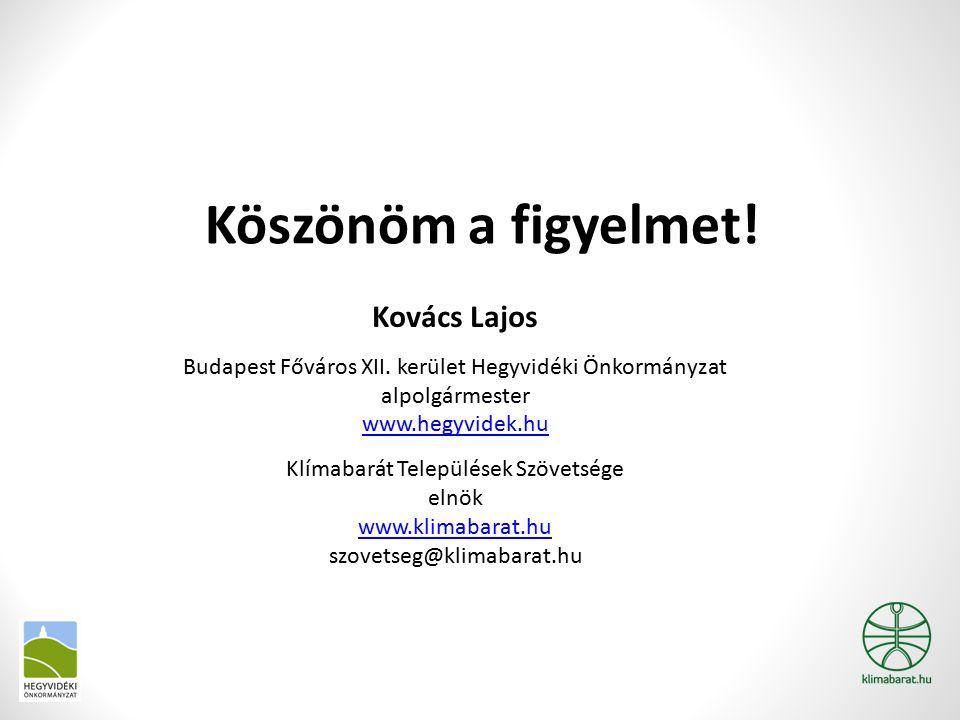 Köszönöm a figyelmet.Kovács Lajos Budapest Főváros XII.