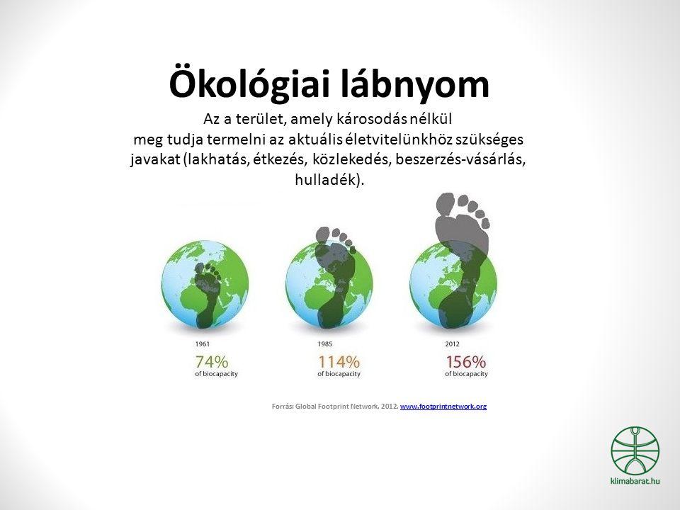 Ökológiai lábnyom Az a terület, amely károsodás nélkül meg tudja termelni az aktuális életvitelünkhöz szükséges javakat (lakhatás, étkezés, közlekedés, beszerzés-vásárlás, hulladék).