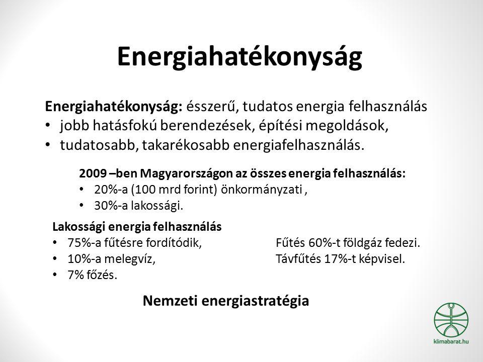 Energiahatékonyság Energiahatékonyság: ésszerű, tudatos energia felhasználás jobb hatásfokú berendezések, építési megoldások, tudatosabb, takarékosabb