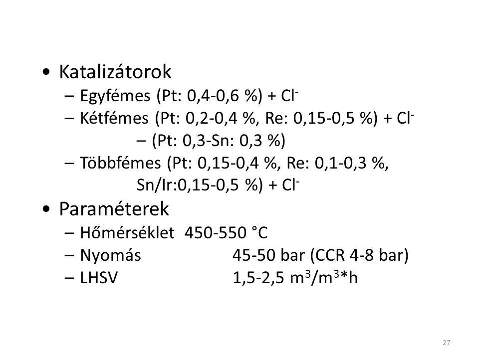 27 BME VBK Minőségjavító technológiák/ Reformálás Katalizátorok –Egyfémes (Pt: 0,4-0,6 %) + Cl - –Kétfémes (Pt: 0,2-0,4 %, Re: 0,15-0,5 %) + Cl - –(Pt
