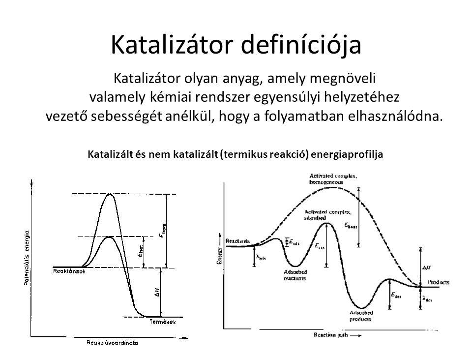 Katalizátor definíciója Katalizátor olyan anyag, amely megnöveli valamely kémiai rendszer egyensúlyi helyzetéhez vezető sebességét anélkül, hogy a fol