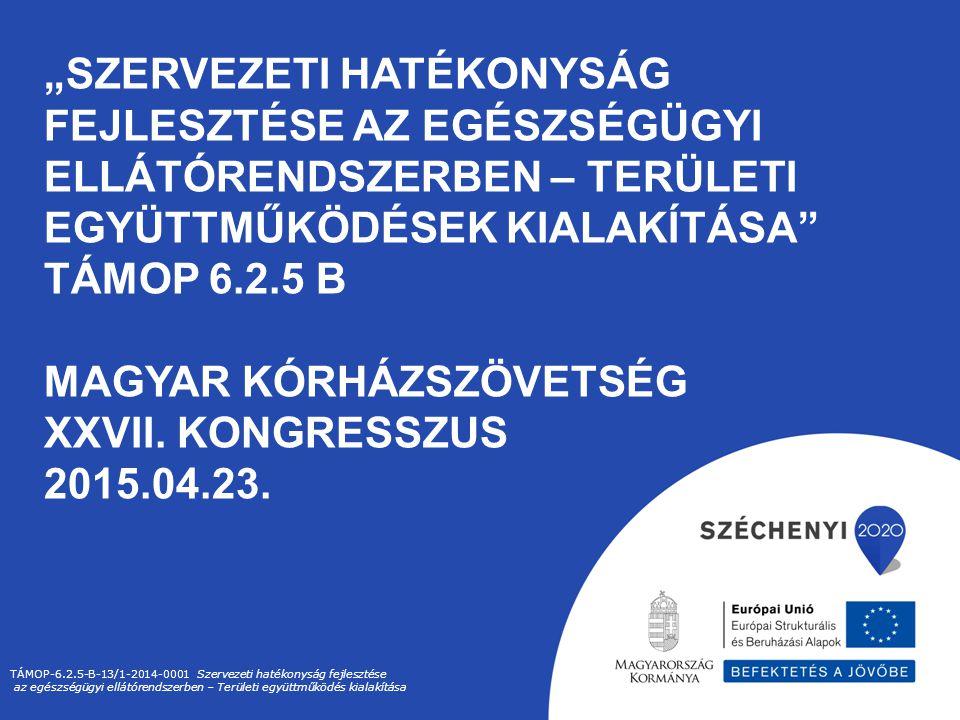 """""""SZERVEZETI HATÉKONYSÁG FEJLESZTÉSE AZ EGÉSZSÉGÜGYI ELLÁTÓRENDSZERBEN – TERÜLETI EGYÜTTMŰKÖDÉSEK KIALAKÍTÁSA"""" TÁMOP 6.2.5 B MAGYAR KÓRHÁZSZÖVETSÉG XXV"""