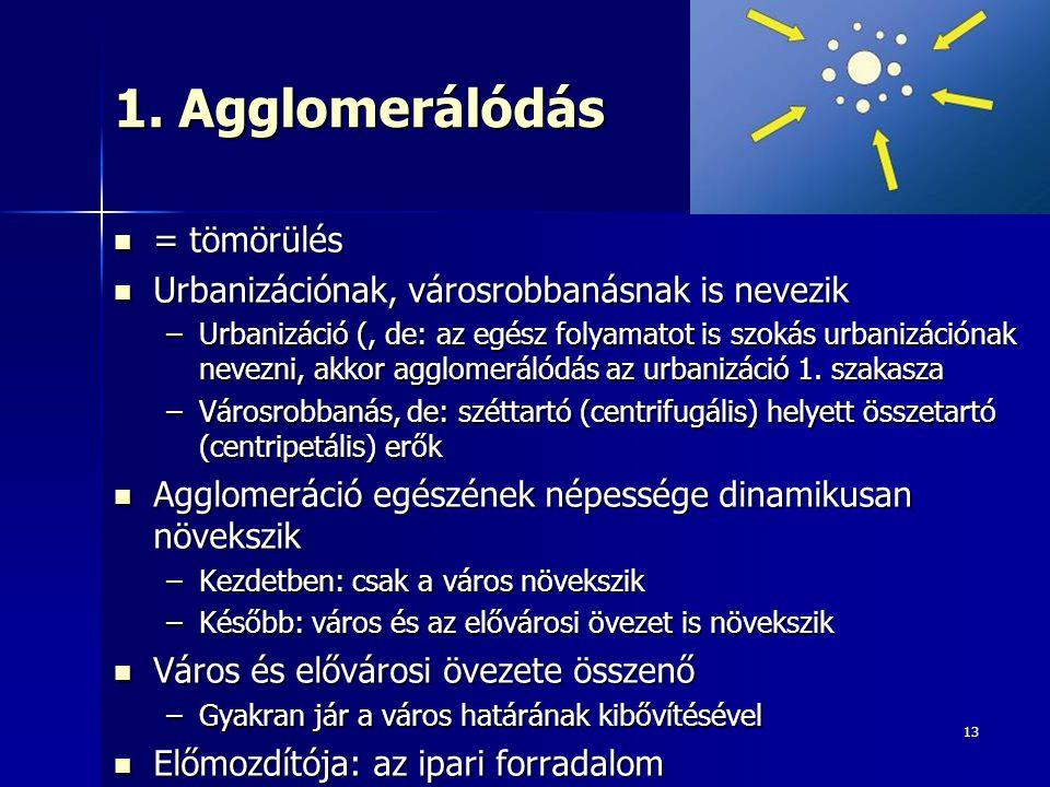 13 1. Agglomerálódás = tömörülés = tömörülés Urbanizációnak, városrobbanásnak is nevezik Urbanizációnak, városrobbanásnak is nevezik –Urbanizáció (, d