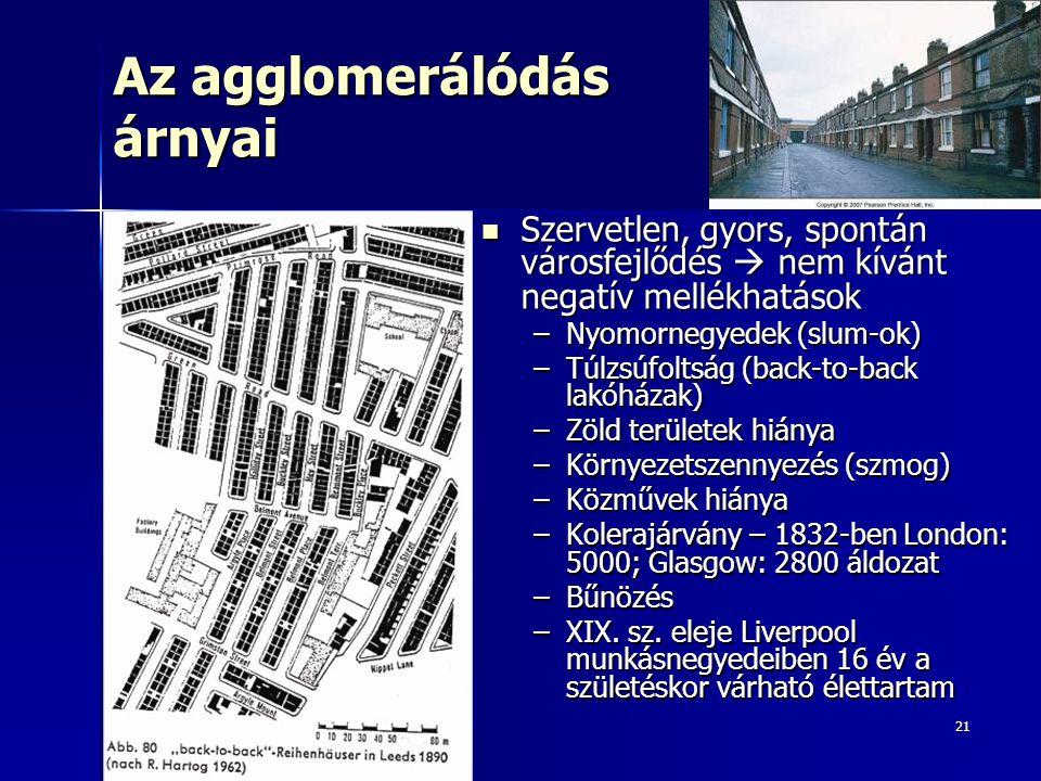 21 Az agglomerálódás árnyai Szervetlen, gyors, spontán városfejlődés  nem kívánt negatív mellékhatások Szervetlen, gyors, spontán városfejlődés  nem