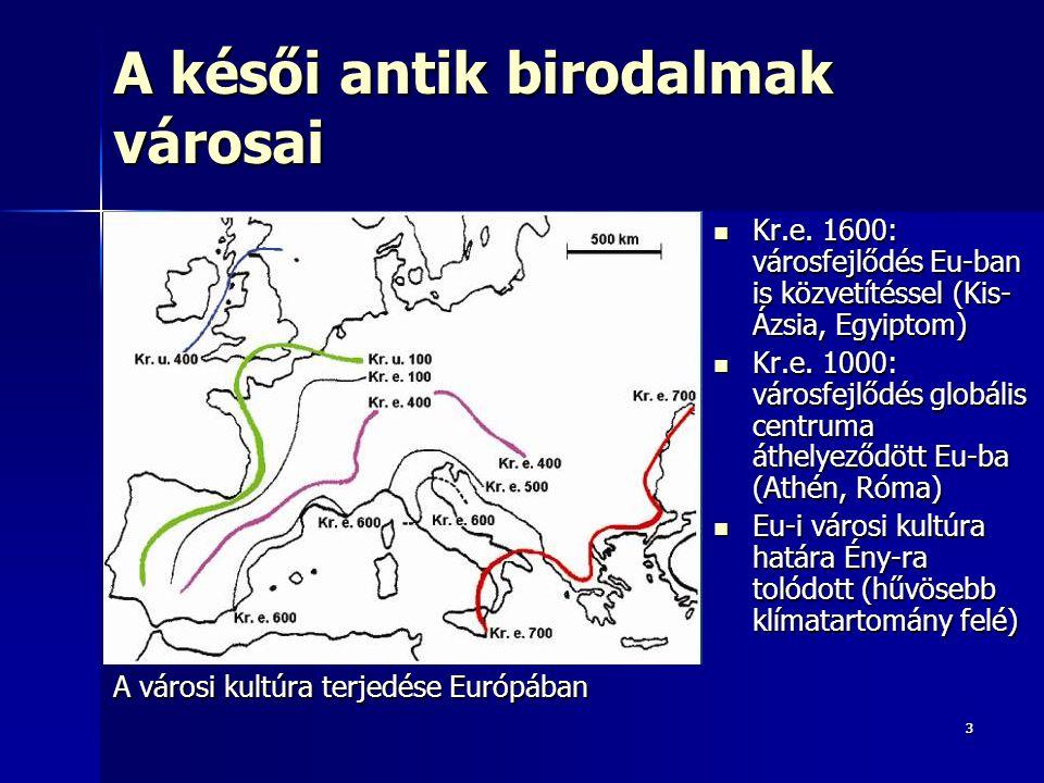 14 Az ipari forradalom terjedése Európában Ipari forradalom, agglomerálódás diffúziója: ÉNy  DK Ipari forradalom, agglomerálódás diffúziója: ÉNy  DK –Fordított irányú az ókori urbanizáció terjedésével (DK  ÉNy) –XVIII.