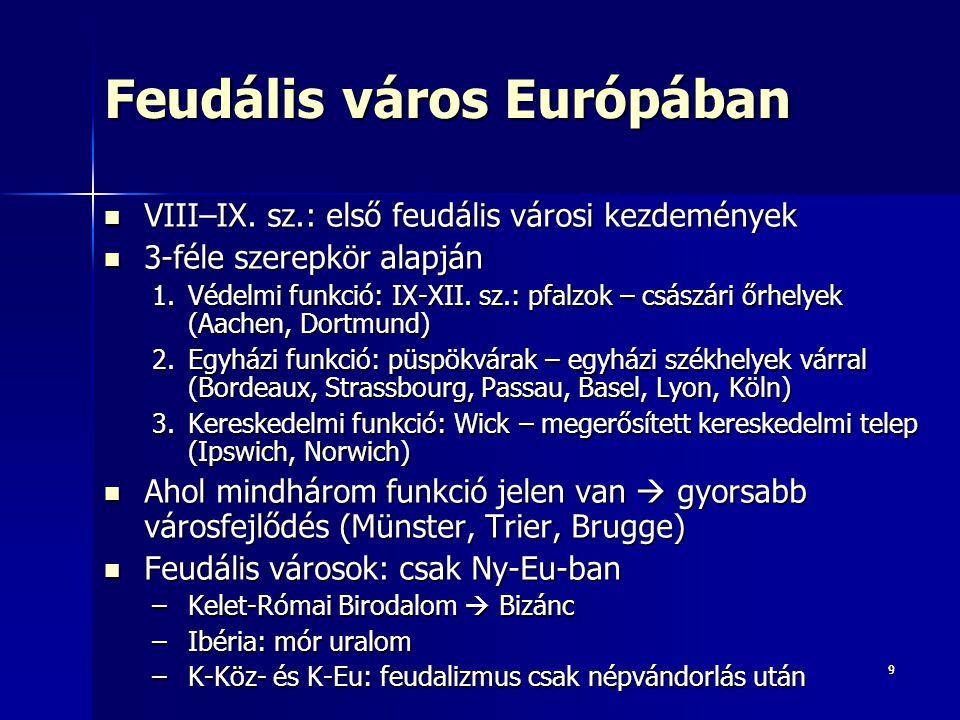 99 Feudális város Európában VIII–IX. sz.: első feudális városi kezdemények VIII–IX. sz.: első feudális városi kezdemények 3-féle szerepkör alapján 3-f