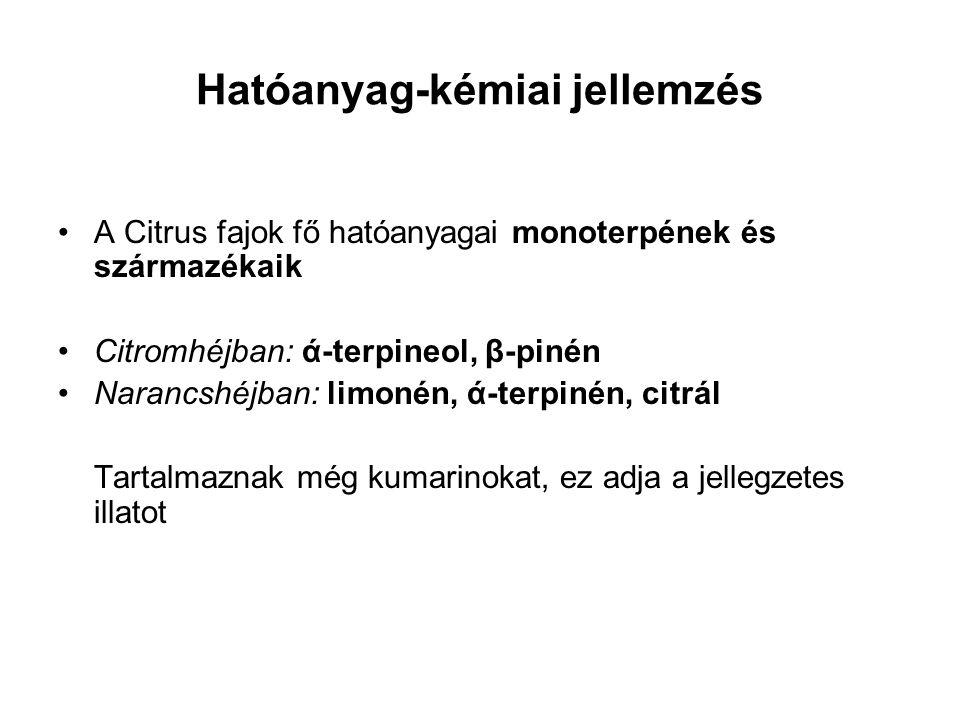Hatóanyag-kémiai jellemzés A Citrus fajok fő hatóanyagai monoterpének és származékaik Citromhéjban: ά-terpineol, β-pinén Narancshéjban: limonén, ά-ter