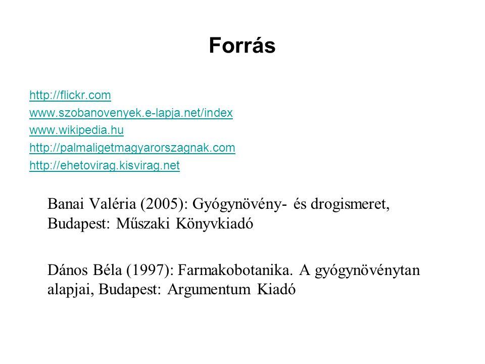 Forrás http://flickr.com www.szobanovenyek.e-lapja.net/index www.wikipedia.hu http://palmaligetmagyarorszagnak.com http://ehetovirag.kisvirag.net Bana