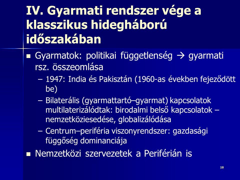 101010 IV. Gyarmati rendszer vége a klasszikus hidegháború időszakában Gyarmatok: politikai függetlenség  gyarmati rsz. összeomlása – –1947: India és