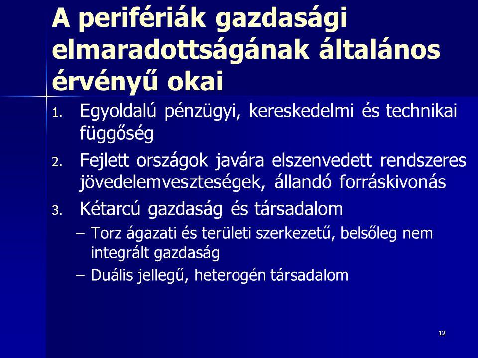 121212 A perifériák gazdasági elmaradottságának általános érvényű okai 1. 1. Egyoldalú pénzügyi, kereskedelmi és technikai függőség 2. 2. Fejlett orsz