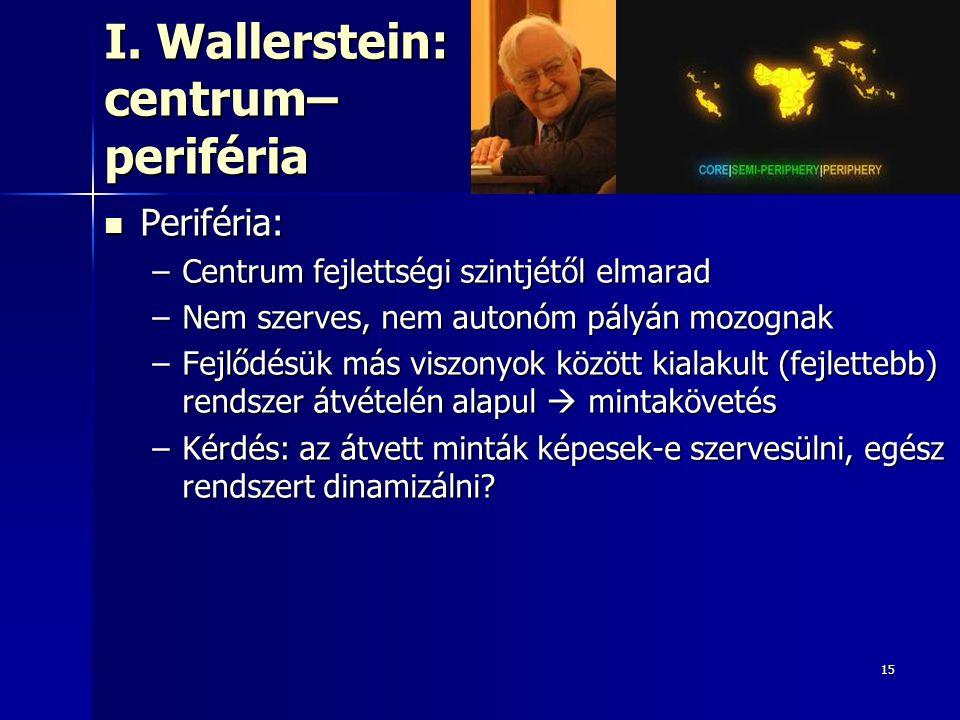 15 I. Wallerstein: centrum– periféria Periféria: Periféria: –Centrum fejlettségi szintjétől elmarad –Nem szerves, nem autonóm pályán mozognak –Fejlődé