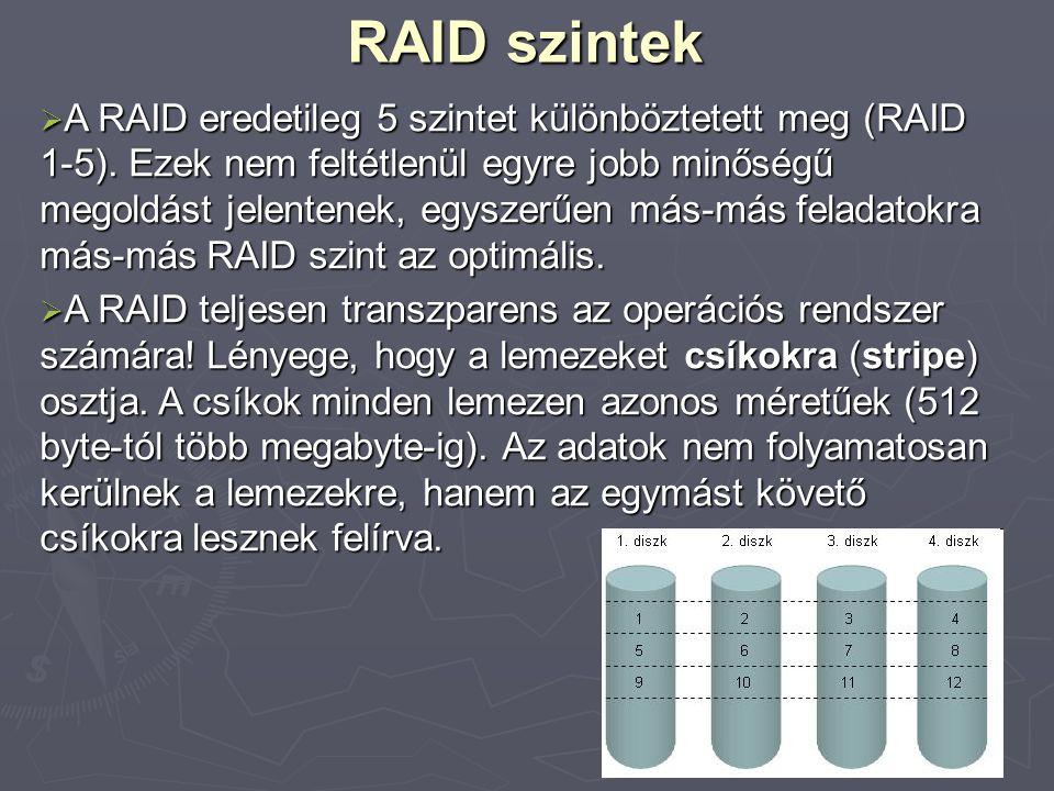 RAID szintek  A RAID eredetileg 5 szintet különböztetett meg (RAID 1-5).