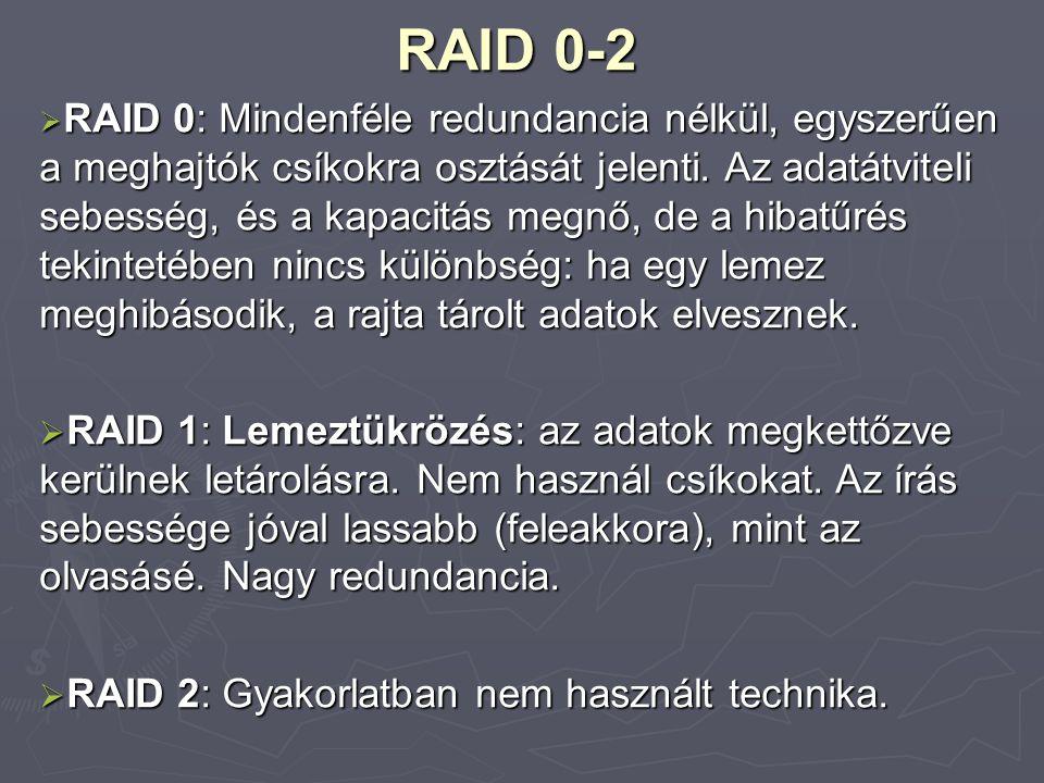 RAID 3-5  RAID 3-4: Lemezek csíkozása, paritásinformációk elhelyezése.