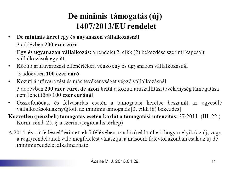 Ácsné M. J. 2015.04.29.11 De minimis támogatás (új) 1407/2013/EU rendelet De minimis keret egy és ugyanazon vállalkozásnál 3 adóévben 200 ezer euró Eg