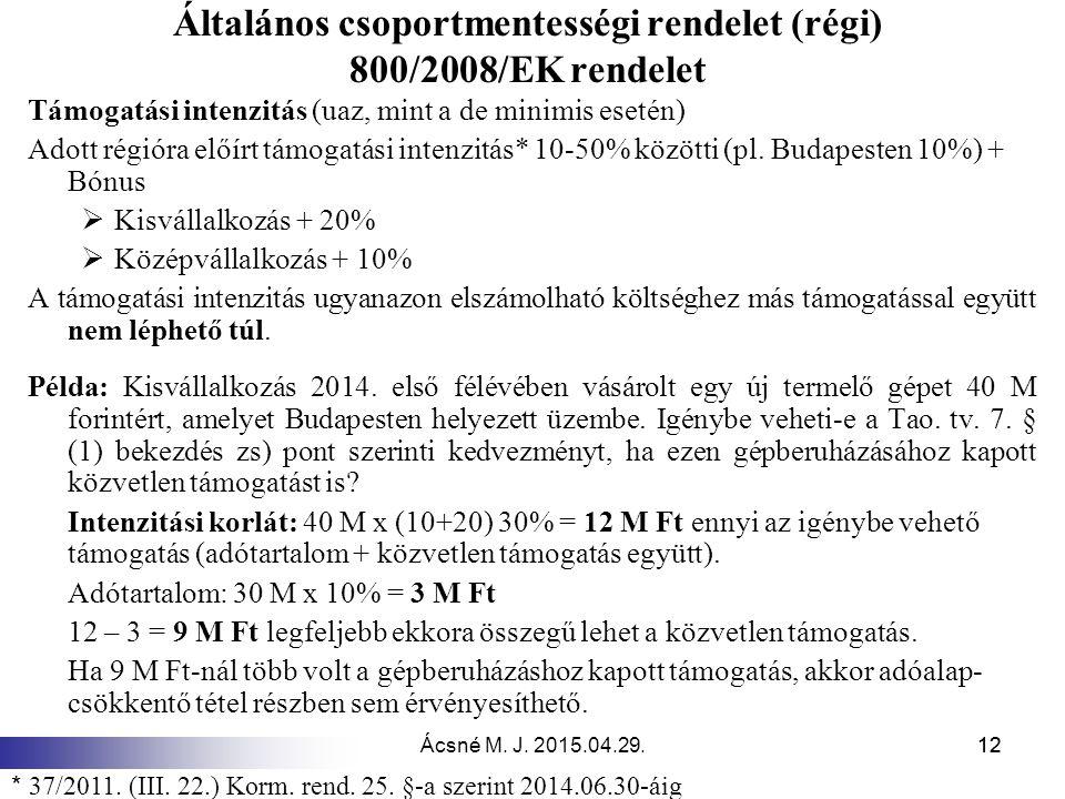 Ácsné M. J. 2015.04.29.12 Általános csoportmentességi rendelet (régi) 800/2008/EK rendelet Támogatási intenzitás (uaz, mint a de minimis esetén) Adott