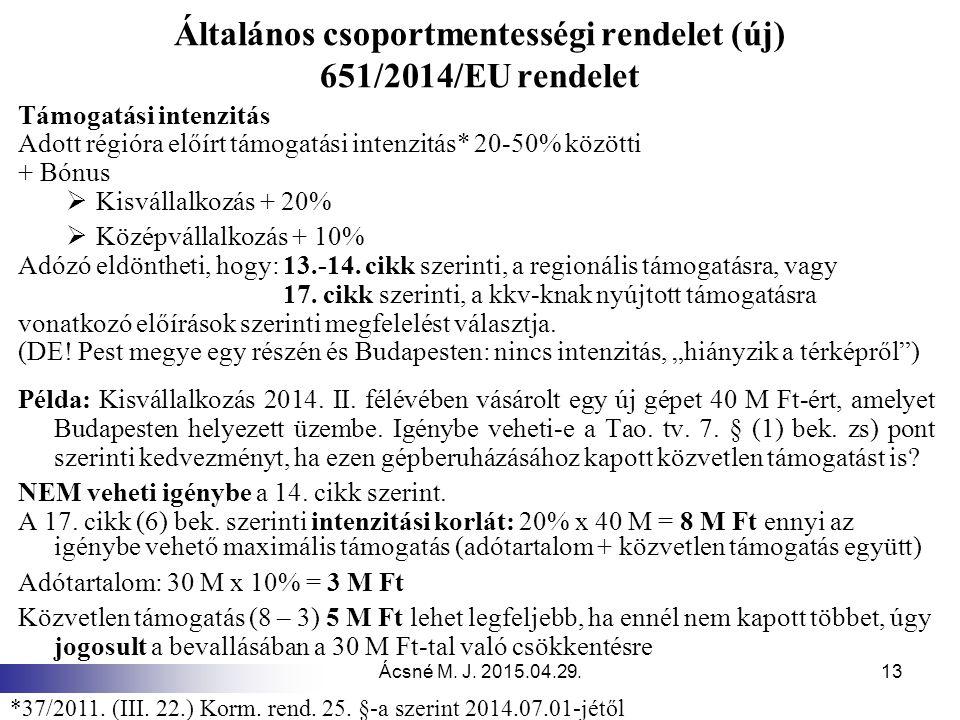 Ácsné M. J. 2015.04.29.13 Általános csoportmentességi rendelet (új) 651/2014/EU rendelet Támogatási intenzitás Adott régióra előírt támogatási intenzi