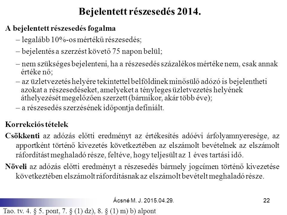 Ácsné M. J. 2015.04.29.22 Bejelentett részesedés 2014. A bejelentett részesedés fogalma – legalább 10%-os mértékű részesedés; – bejelentés a szerzést