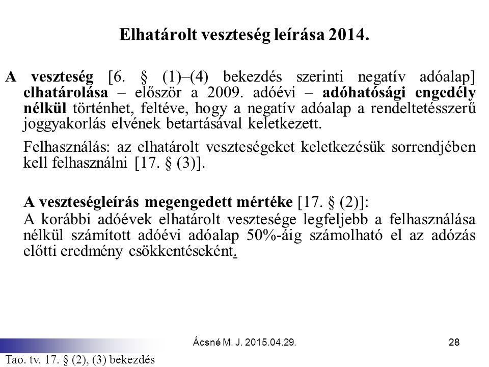 Ácsné M. J. 2015.04.29.28 Elhatárolt veszteség leírása 2014. A veszteség [6. § (1)–(4) bekezdés szerinti negatív adóalap] elhatárolása – először a 200