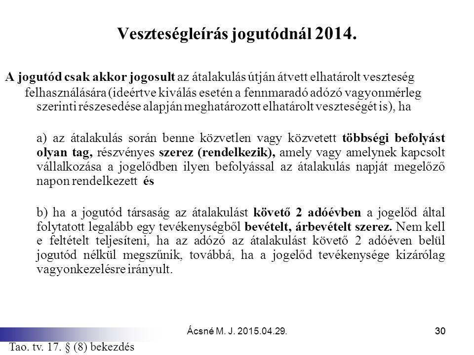 Ácsné M. J. 2015.04.29.30 Veszteségleírás jogutódnál 2014. A jogutód csak akkor jogosult az átalakulás útján átvett elhatárolt veszteség felhasználásá