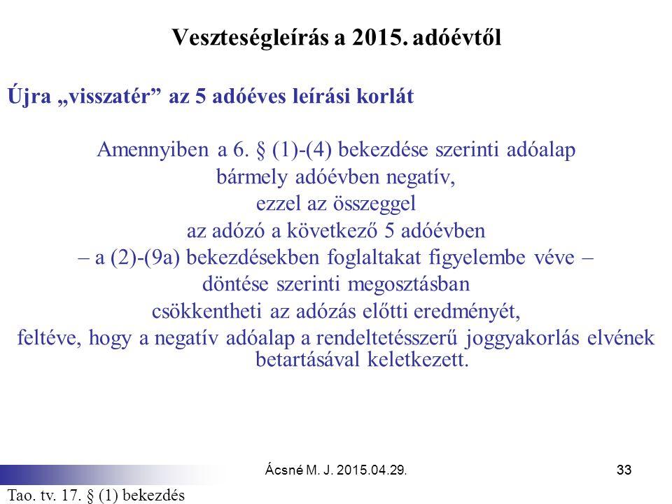 """Ácsné M. J. 2015.04.29.33 Veszteségleírás a 2015. adóévtől Újra """"visszatér"""" az 5 adóéves leírási korlát Amennyiben a 6. § (1)-(4) bekezdése szerinti a"""
