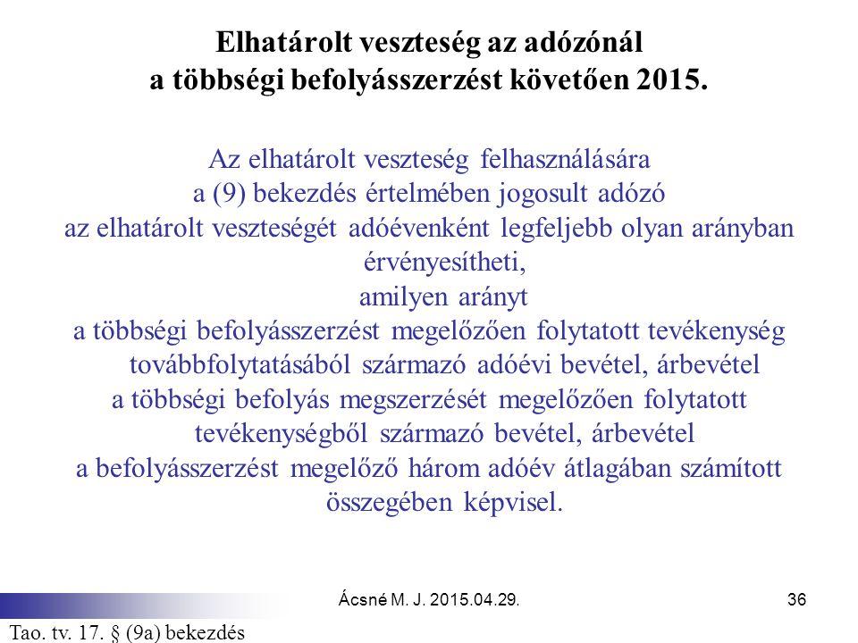 Ácsné M. J. 2015.04.29.36 Elhatárolt veszteség az adózónál a többségi befolyásszerzést követően 2015. Az elhatárolt veszteség felhasználására a (9) be