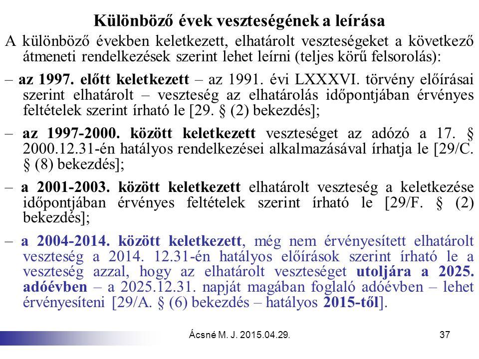 Ácsné M. J. 2015.04.29.37 Különböző évek veszteségének a leírása A különböző években keletkezett, elhatárolt veszteségeket a következő átmeneti rendel