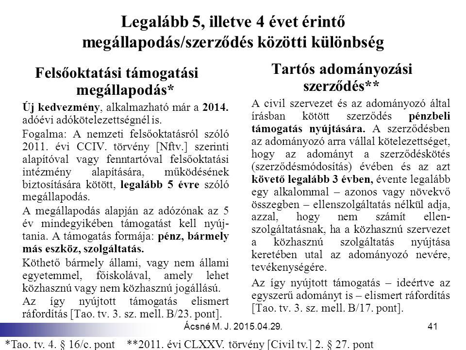 Ácsné M. J. 2015.04.29.41 Legalább 5, illetve 4 évet érintő megállapodás/szerződés közötti különbség Felsőoktatási támogatási megállapodás* Új kedvezm