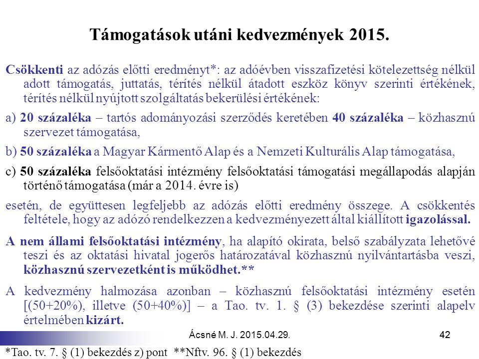 Ácsné M. J. 2015.04.29.42 Támogatások utáni kedvezmények 2015. Csökkenti az adózás előtti eredményt*: az adóévben visszafizetési kötelezettség nélkül