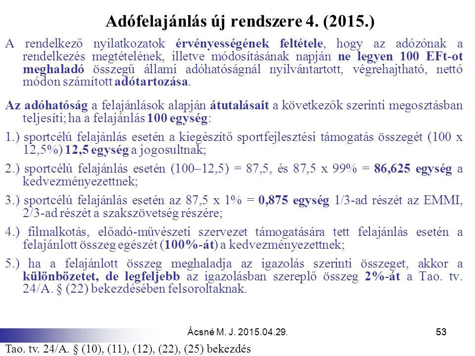 Ácsné M. J. 2015.04.29.53 Adófelajánlás új rendszere 4. (2015.) A rendelkező nyilatkozatok érvényességének feltétele, hogy az adózónak a rendelkezés m