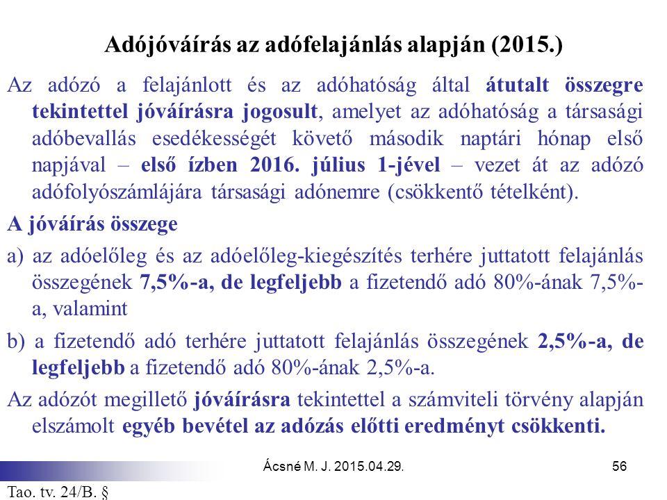 Ácsné M. J. 2015.04.29.56 Adójóváírás az adófelajánlás alapján (2015.) Az adózó a felajánlott és az adóhatóság által átutalt összegre tekintettel jóvá