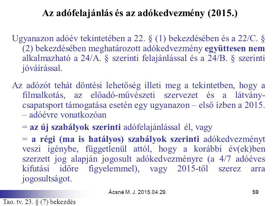 Ácsné M. J. 2015.04.29.59 Az adófelajánlás és az adókedvezmény (2015.) Ugyanazon adóév tekintetében a 22. § (1) bekezdésében és a 22/C. § (2) bekezdés