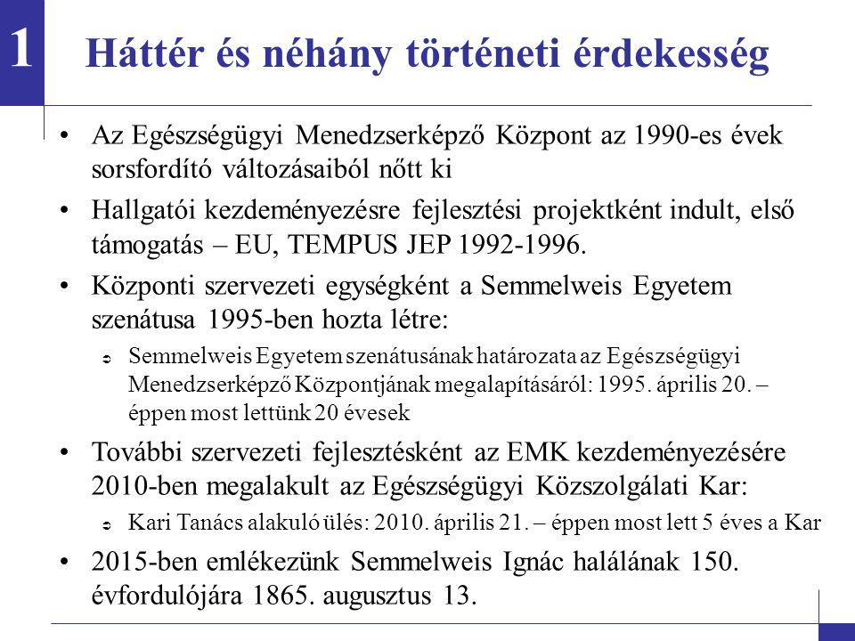 Háttér és néhány történeti érdekesség Az Egészségügyi Menedzserképző Központ az 1990-es évek sorsfordító változásaiból nőtt ki Hallgatói kezdeményezésre fejlesztési projektként indult, első támogatás – EU, TEMPUS JEP 1992-1996.