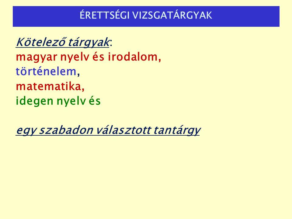 ÉRETTSÉGI Kötelező tárgyak: magyar nyelv és irodalom, történelem, matematika, idegen nyelv és egy szabadon választott tantárgy ÉRETTSÉGI VIZSGATÁRGYAK