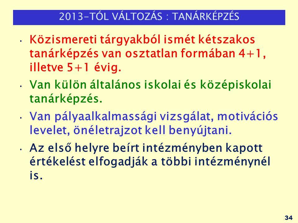 2013-TÓL VÁLTOZÁS : TANÁRKÉPZÉS Közismereti tárgyakból ismét kétszakos tanárképzés van osztatlan formában 4+1, illetve 5+1 évig. Van külön általános i