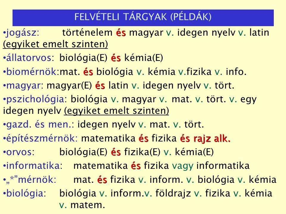és jogász: történelem és magyar v. idegen nyelv v. latin (egyiket emelt szinten) és állatorvos: biológia(E) és kémia(E) és biomérnök:mat. és biológia