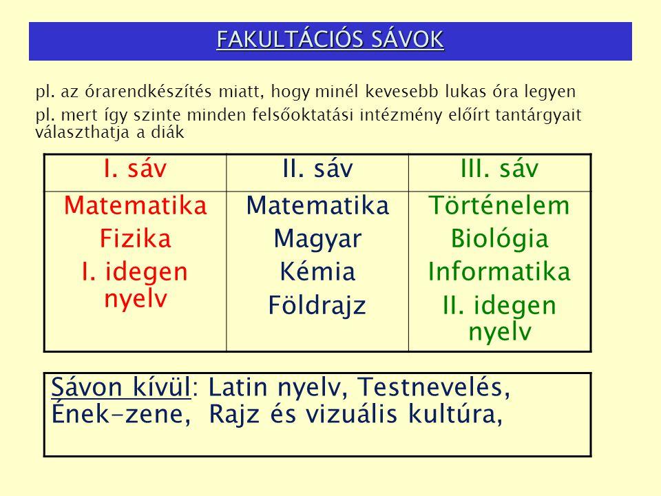 FAKULTÁCIÓS SÁVOK pl. az órarendkészítés miatt, hogy minél kevesebb lukas óra legyen pl. mert így szinte minden felsőoktatási intézmény előírt tantárg