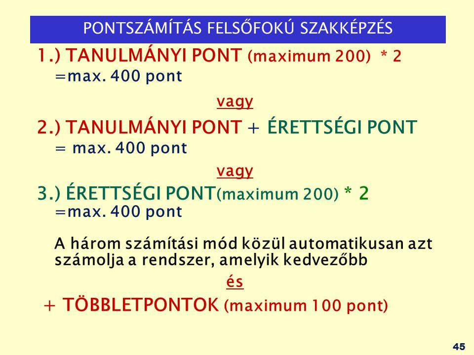 45 PONTSZÁMÍTÁS FELSŐFOKÚ SZAKKÉPZÉS 1.) TANULMÁNYI PONT (maximum 200) * 2 =max. 400 pont vagy 2.) TANULMÁNYI PONT + ÉRETTSÉGI PONT = max. 400 pont va