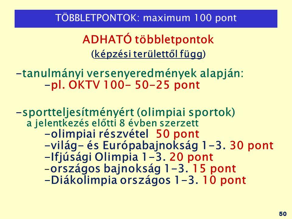 50 TÖBBLETPONTOK: maximum 100 pont ADHATÓ többletpontok (képzési területtől függ) -tanulmányi versenyeredmények alapján: -pl. OKTV 100- 50-25 pont -sp