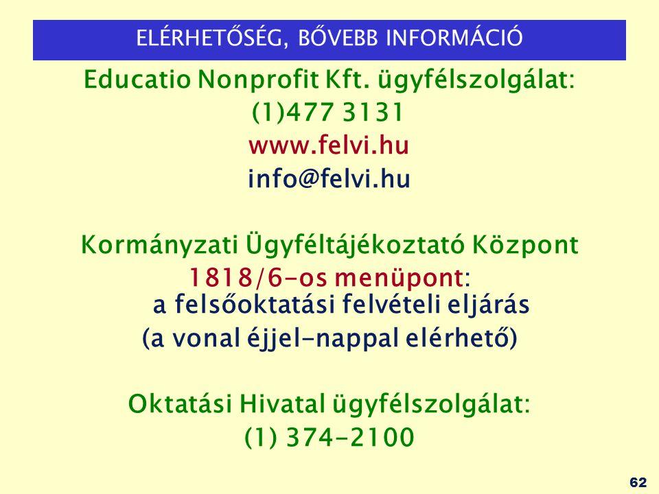 62 ELÉRHETŐSÉG, BŐVEBB INFORMÁCIÓ Educatio Nonprofit Kft. ügyfélszolgálat: (1)477 3131 www.felvi.hu info@felvi.hu Kormányzati Ügyféltájékoztató Közpon