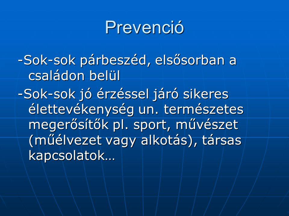 Prevenció -Sok-sok párbeszéd, elsősorban a családon belül -Sok-sok jó érzéssel járó sikeres élettevékenység un.
