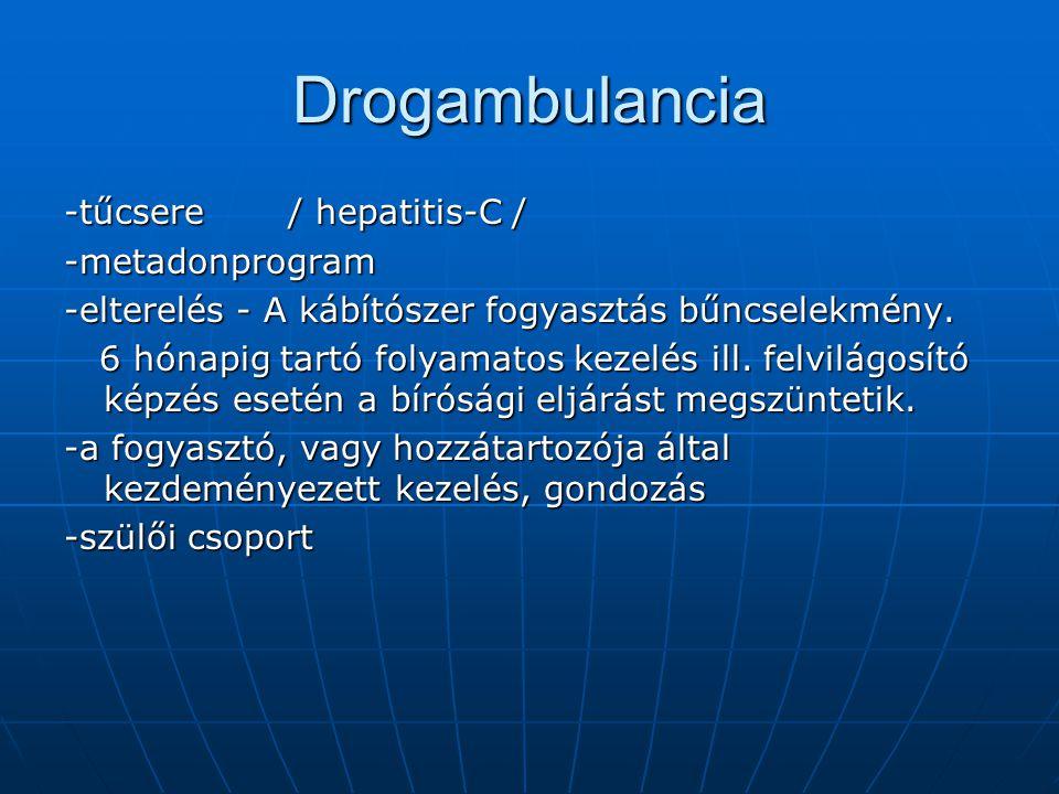 Drogambulancia -tűcsere / hepatitis-C / -metadonprogram -elterelés - A kábítószer fogyasztás bűncselekmény.