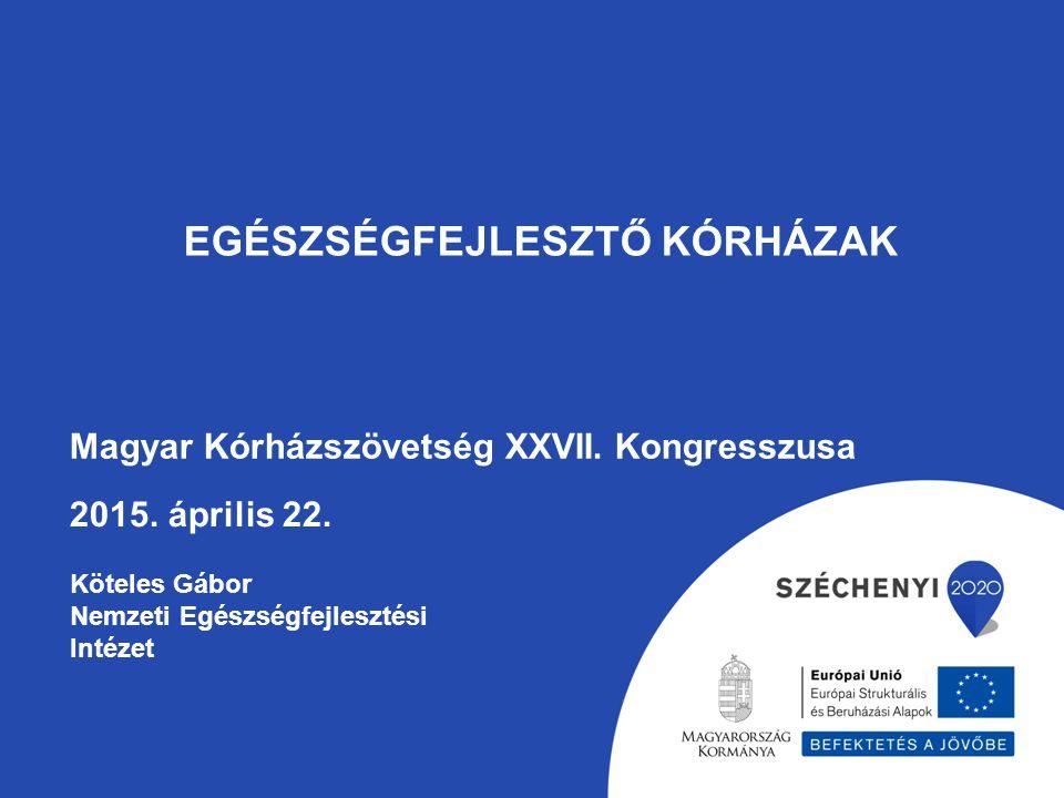 TÁMOP-6.1.1-12/1-2013-0001 Egészségfejlesztési szakmai hálózat létrehozása Nemzeti Egészségfejlesztési Intézet (Konzorciumvezető) Állami Egészségügyi Ellátó Központ (Konzorciumpartner ) Egészségügyi Nyilvántartási és Képzési Központ (Egészségfejlesztő Kórházak Magyarországi Hálózatának Tanácsadói Központja)