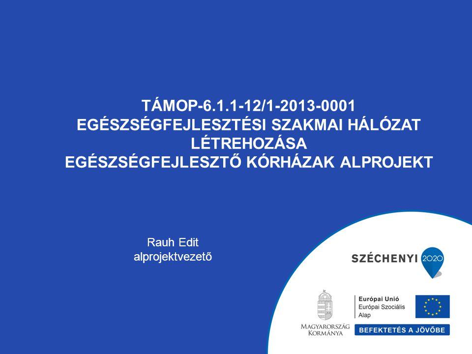 TÁMOP-6.1.1-12/1-2013-0001 EGÉSZSÉGFEJLESZTÉSI SZAKMAI HÁLÓZAT LÉTREHOZÁSA EGÉSZSÉGFEJLESZTŐ KÓRHÁZAK ALPROJEKT Rauh Edit alprojektvezető