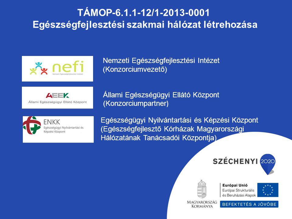 TÁMOP-6.1.1-12/1-2013-0001 Egészségfejlesztési szakmai hálózat létrehozása Nemzeti Egészségfejlesztési Intézet (Konzorciumvezető) Állami Egészségügyi