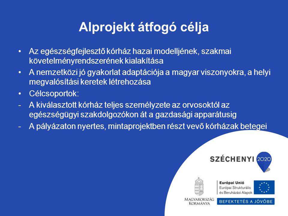 Alprojekt átfogó célja Az egészségfejlesztő kórház hazai modelljének, szakmai követelményrendszerének kialakítása A nemzetközi jó gyakorlat adaptációj