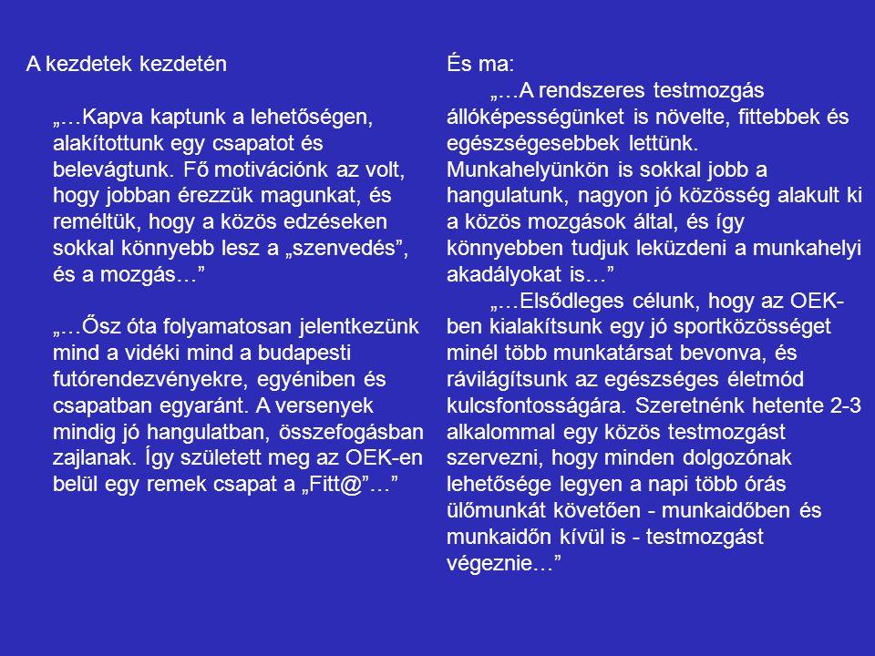 Együttműködő partnerek Egészségfejlesztő Kórházak megvalósításához 9 kórház kiválasztása 1.Felső-Szabolcsi Kórház – Kisvárda 2.Somogy Megyei Kaposi Mór Oktató Kórház – Kaposvár 3.Jász-Nagykun-Szolnok Megyei Hetényi Géza Kórház-Rendelőintézet – Szolnok 4.Markhot Ferenc Oktató Kórház-Rendelőintézet – Eger 5.Bács-Kiskun Megyei Kórház – Kecskemét 6.Csongrád Megyei Egészségügyi Ellátó Központ Hódmezővásárhely- Makó 7.Szabolcs-Szatmár-Bereg megyei Kórházak és Egyetemi Oktató Kórház – Nyíregyháza 8.Petz Aladár Megyei Oktató Kórház – Győr 9.Békés Megyei Pándy Kálmán Kórház - Gyula