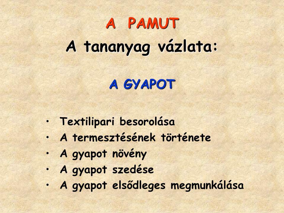 A PAMUT A tananyag vázlata: A GYAPOT Textilipari besorolása A termesztésének története A gyapot növény A gyapot szedése A gyapot elsődleges megmunkálá